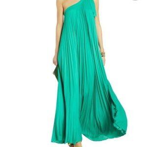 BCBG green one shoulder pleated maxi dress
